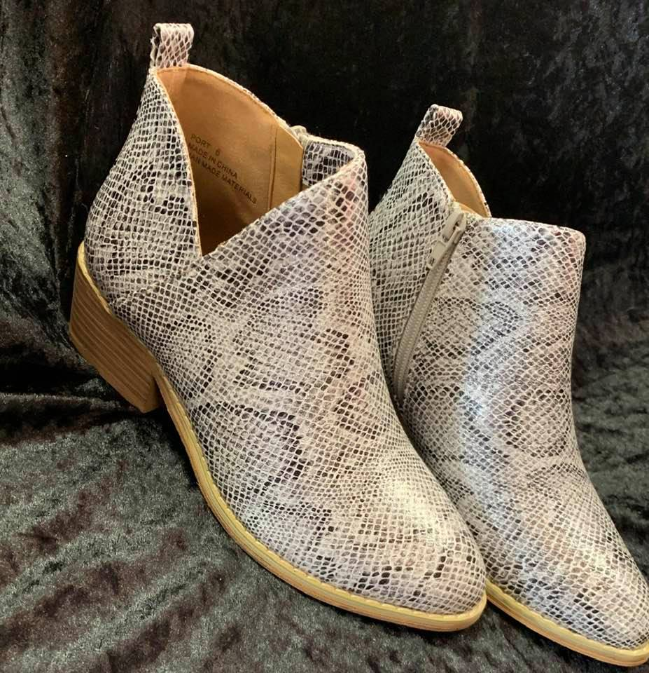White Snakeskin Booties