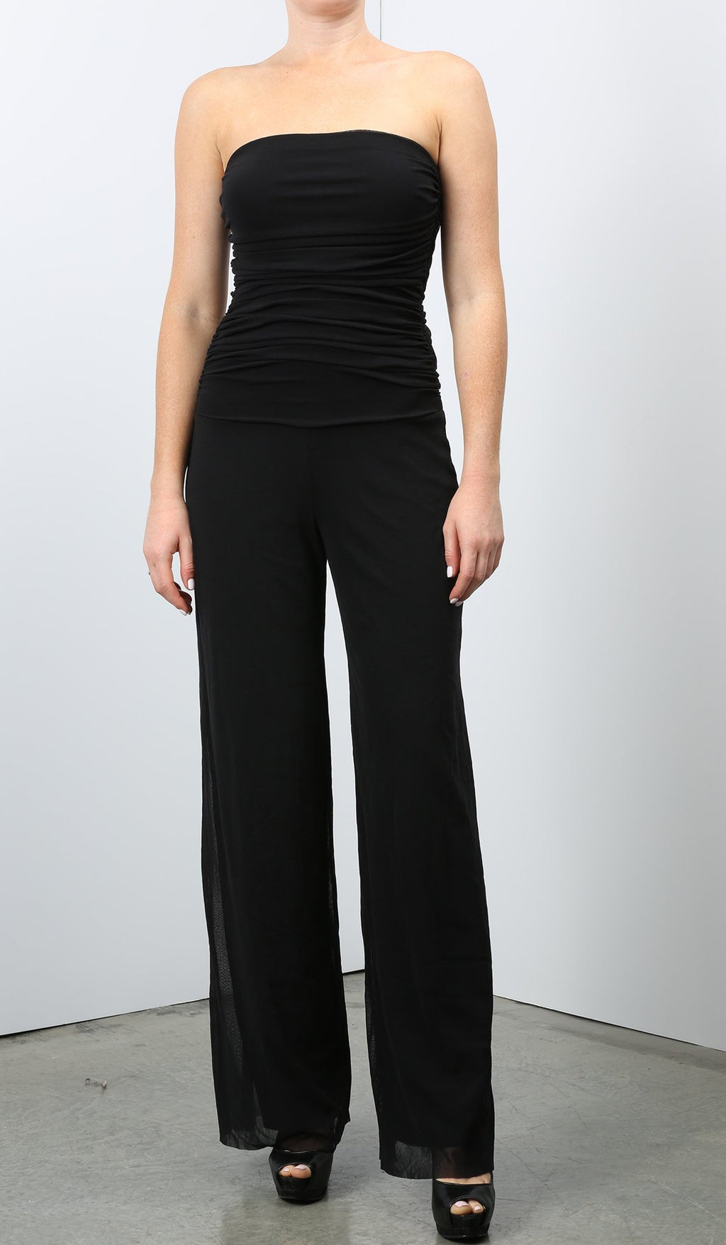 Strapless black mesh jumpsuit