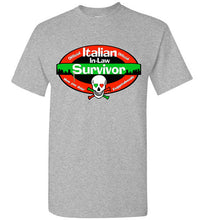 Official Italian In-Law Survivor Crew Neck Unisex Short Sleeve T-Shirt - Ciao Bella Ltd T-Shirts