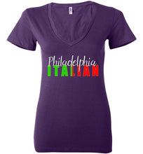 Philadelphia Italian Dark Color V-Neck Ladies Fashion T-Shirt - Ciao Bella Ltd T-Shirts