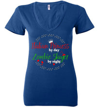 Italian Princess by Day Zombie Slayer by Night - Ladies Deep V-Neck Shirt - Ciao Bella Ltd T-Shirts