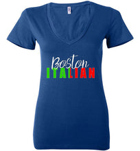 Boston Italian - Dark Colored Ladies V-Neck T-Shirt - Ciao Bella Ltd T-Shirts