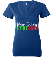 New Jersey Italian Ladies Dark V-Neck Tee Shirt - Ciao Bella Ltd T-Shirts