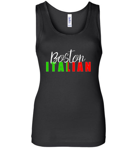 Boston Italian - Dark Colored Ladies Wide Strap Tank Top - Ciao Bella Ltd T-Shirts