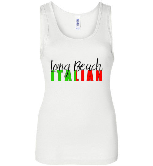 Long Beach Italian - Ladies Wide Strap Tank Top - Ciao Bella Ltd T-Shirts