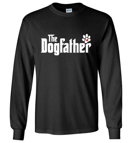 The Dogfather Pawprint Long Sleeve Tee Shirt (White font) - Ciao Bella Ltd T-Shirts