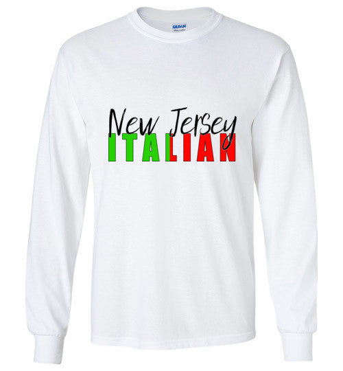 New Jersey Italian Long Sleeve Crew Neck T-Shirt - Ciao Bella Ltd T-Shirts