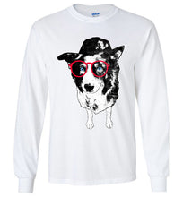 Hipster Border Collie Crew Neck Long Sleeve Unisex Tee Shirt - Ciao Bella Ltd T-Shirts