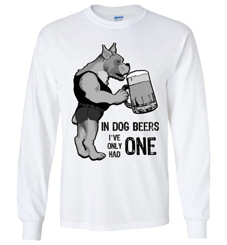 Funny Dog Drinking Beer Long Sleeve Unisex Crew Neck Tee Shirt - Ciao Bella Ltd T-Shirts