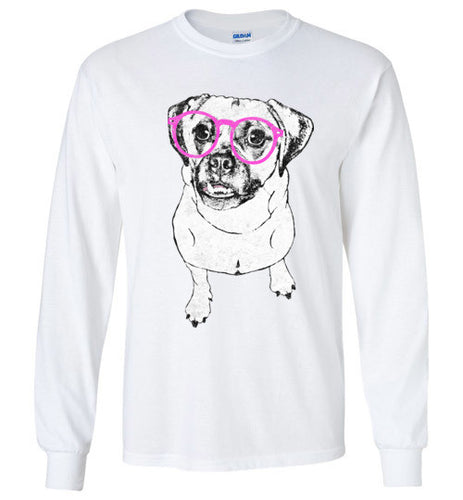 Hipster Puggle Unisex Long Sleeve Crew Neck Tee Shirt - Ciao Bella Ltd T-Shirts