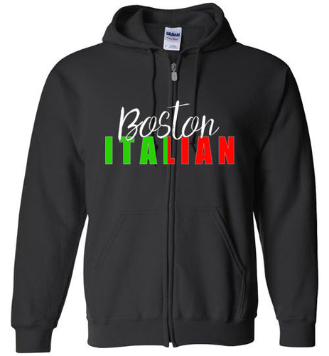 Boston Italian - Dark Colored Zipper Front Hoodie - Ciao Bella Ltd T-Shirts