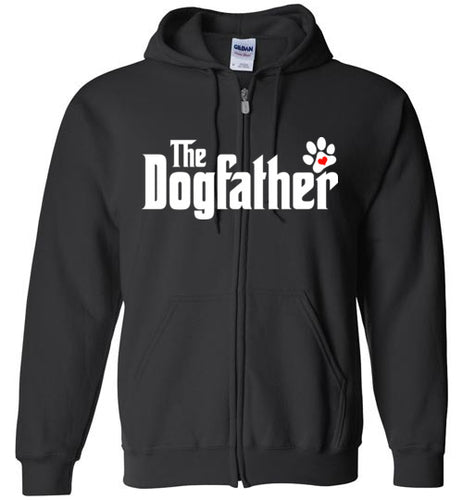 The Dogfather Pawprint Zipper Front Hoodie (White font) - Ciao Bella Ltd T-Shirts