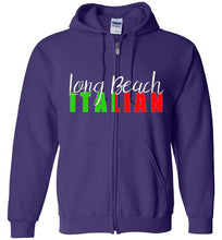 Long Beach Italian Dark Colored Zipper Front Hoodie - Ciao Bella Ltd T-Shirts