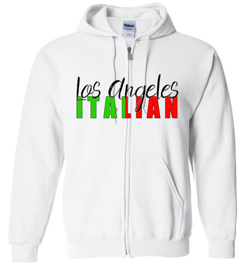 Los Angeles Italian Light Colored Zipper Front Unisex Hoodie - Ciao Bella Ltd T-Shirts