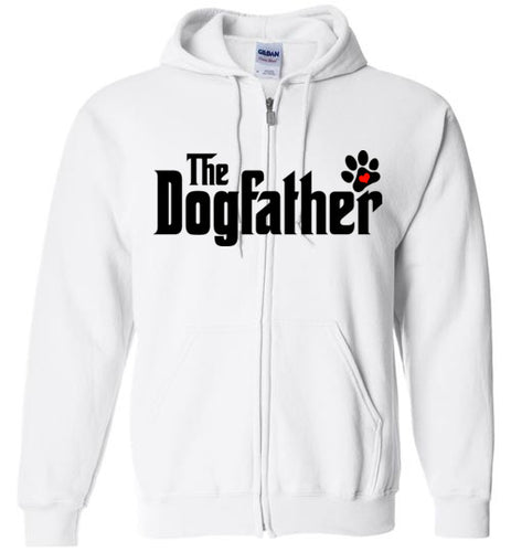 The Dogfather Pawprint Zipper Front Hoodie (Black font) - Ciao Bella Ltd T-Shirts