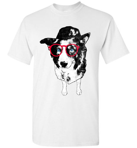 Hipster Border Collie Crew Neck Short Sleeve Unisex Tee Shirt - Ciao Bella Ltd T-Shirts