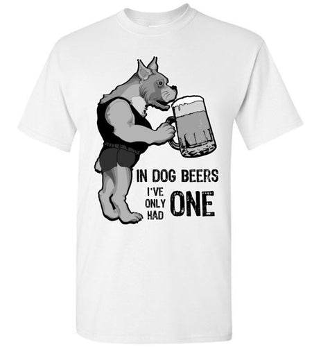 Funny Dog Drinking Beer Unisex Crew Neck Short Sleeve Tee Shirt - Ciao Bella Ltd T-Shirts