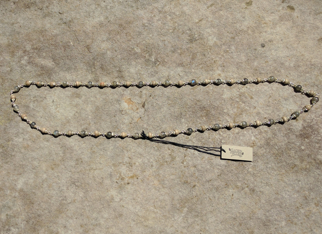 Silver necklace, Tulsi and Labradorite