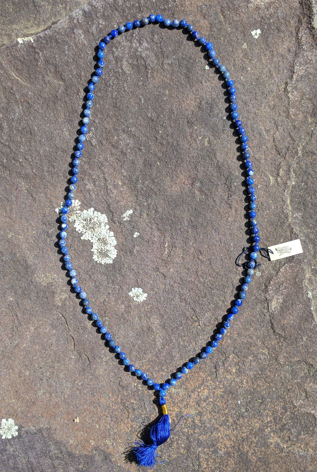 Lapis 108 bead knotted