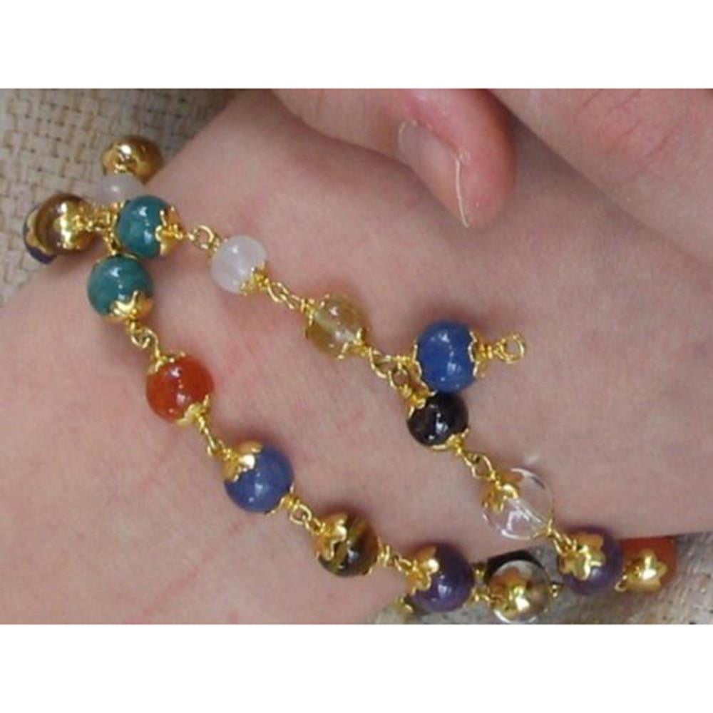 Navaratna 27 bead bracelet with gold lotus caps