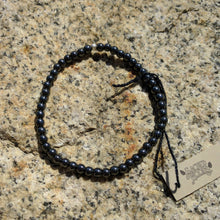 Hematite bracelet, 4mm round stone beads on elastic