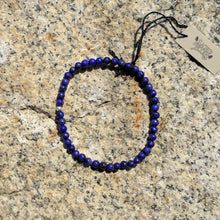 Lapis Lazuli Bracelet, 4mm round stone beads on elastic