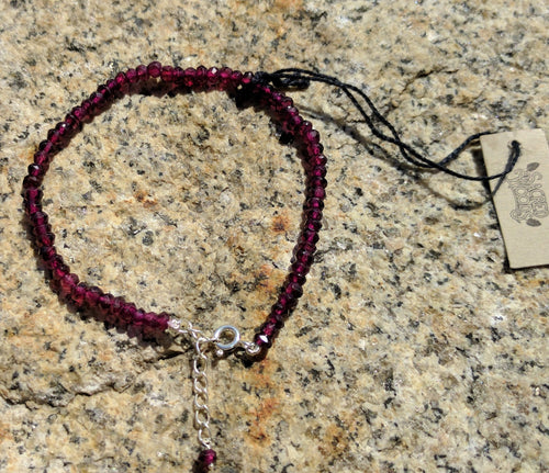 Garnet faceted gemstone bracelet