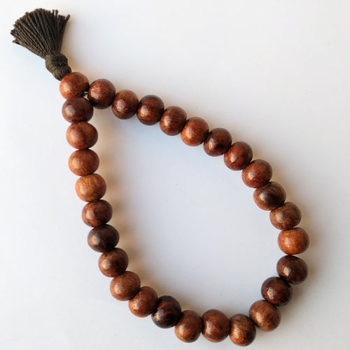 Sheesham 27 bead Wrist Mala on elastic