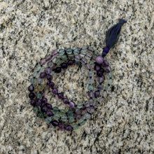 Purple-Green Fluorite mala, 108 bead knotted
