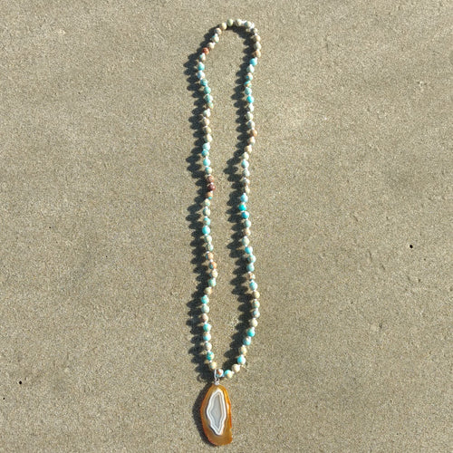 Aqua Terra Jasper Mala Necklace with Agate Geode Pendant