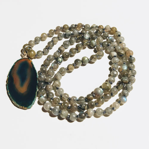 Labradorite Mala Necklace with Agate Geode Pendant