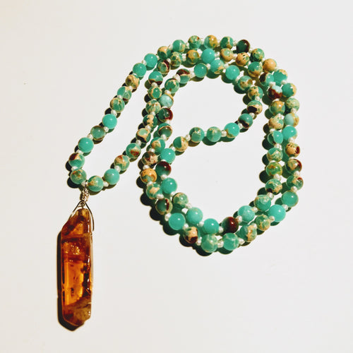 Aqua Terra Jasper Mala Necklace with Citrine Pendant