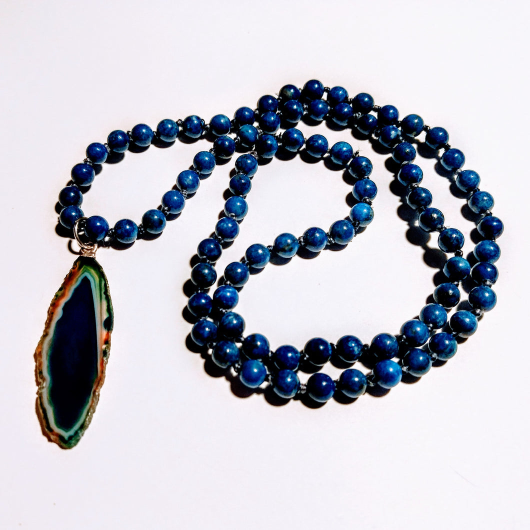 Lapis Mala Necklace with Agate Geode Pendant
