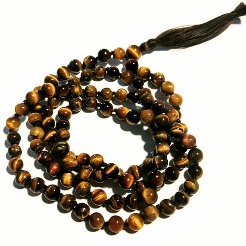 Tiger's eye 108 bead knotted