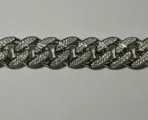 784117791db7d 925 STERLING SILVER ICED OUT MIAMI CUBAN LINK BRACELET 8.5inch 13MM 69 grams