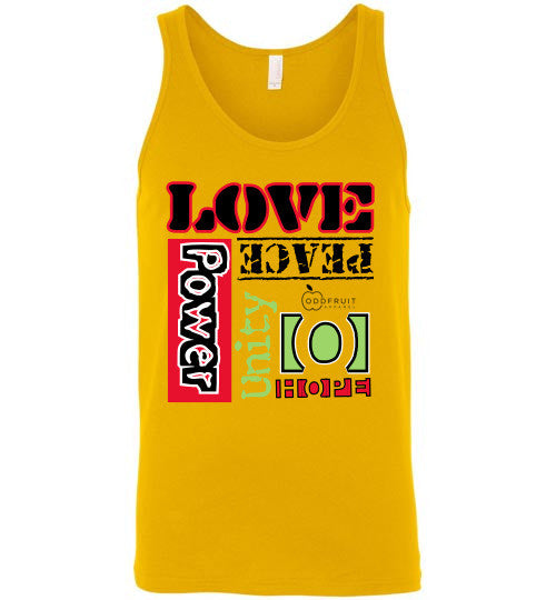 """Love, Peace, Power, etc."" Athletic Tank"
