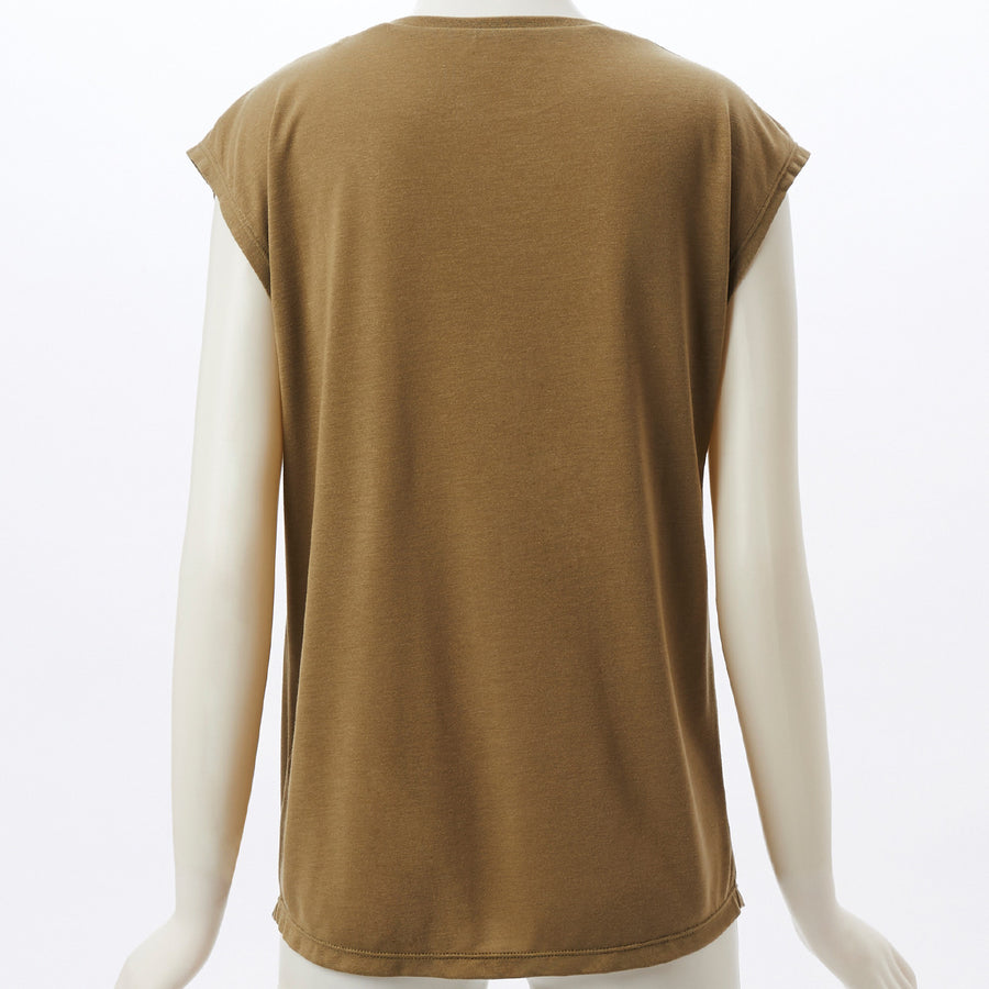 Flost French Sleeve Top - Khaki - bodyartwebstore
