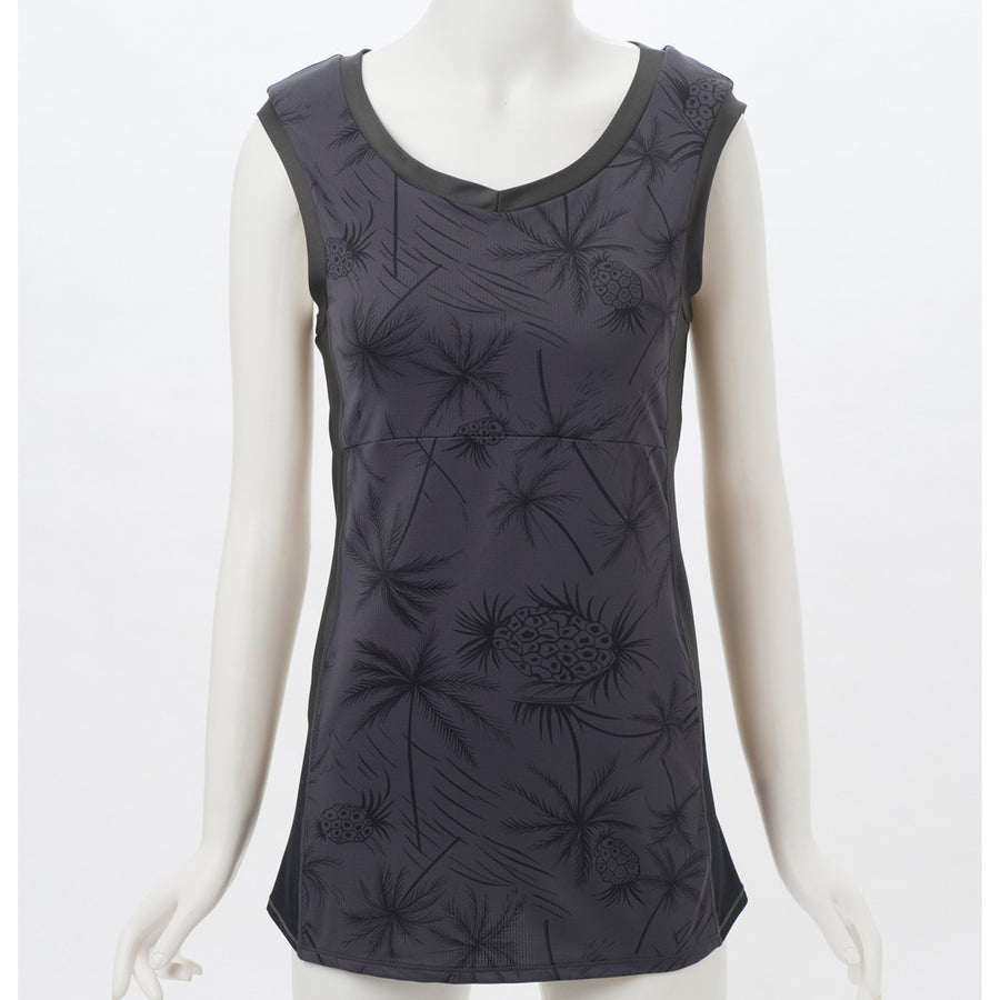 Pineapple Print Tank - Black - bodyartwebstore