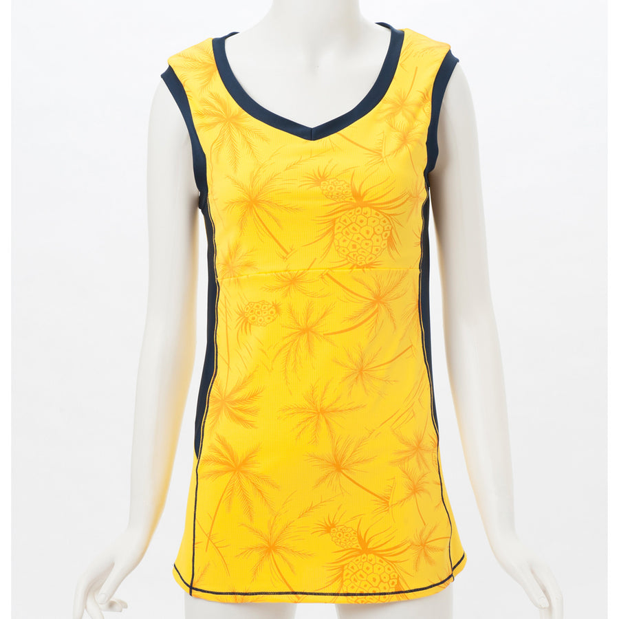 Pineapple Print Tank - Yellow - bodyartwebstore
