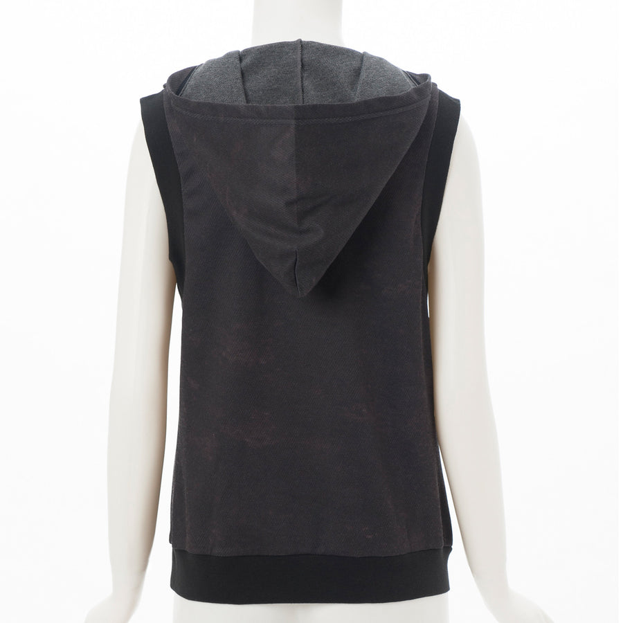 Light Sweat Hooded Tank - Black - bodyartwebstore