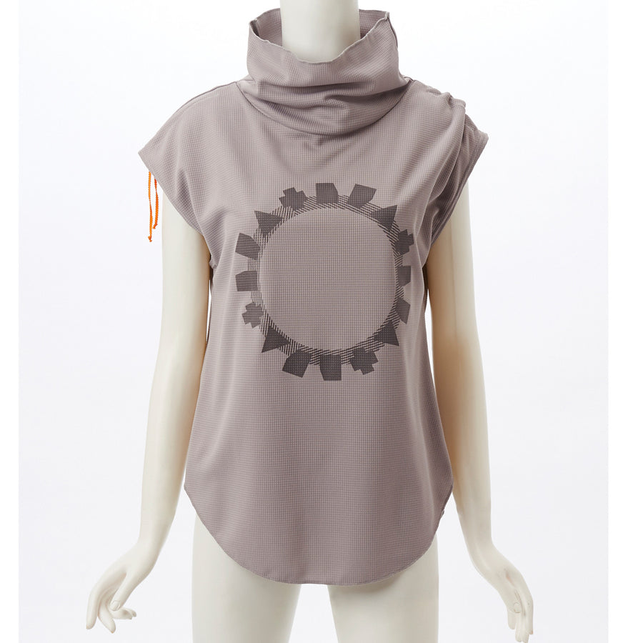 Stretch Waffle High Neck Top - Ash Grey - bodyartwebstore