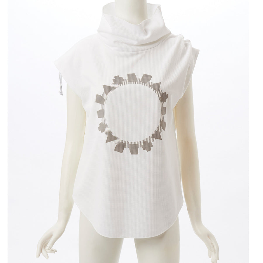 Stretch Waffle High Neck Top - White - bodyartwebstore