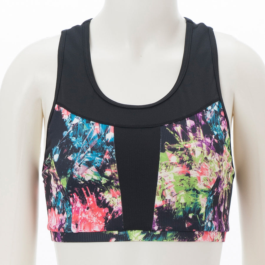 Glitter Printed Sports Bra - Black - bodyartwebstore