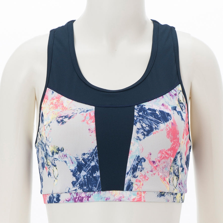 Glitter Printed Sports Bra - Light Grey - bodyartwebstore