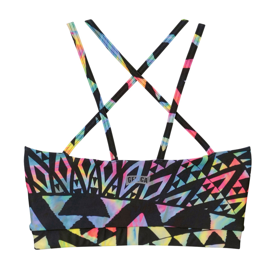 <NEW>African Strappy Sports Bra - Black + Multi