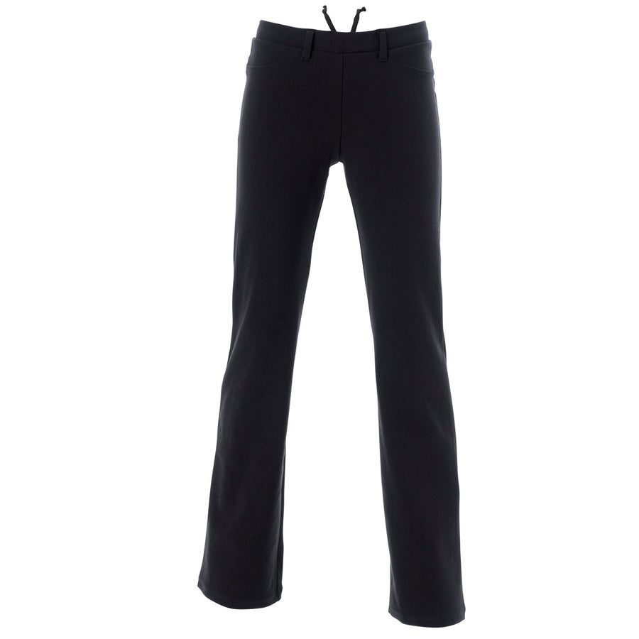 Stretch Swede-like Boots-cut Pants - Black
