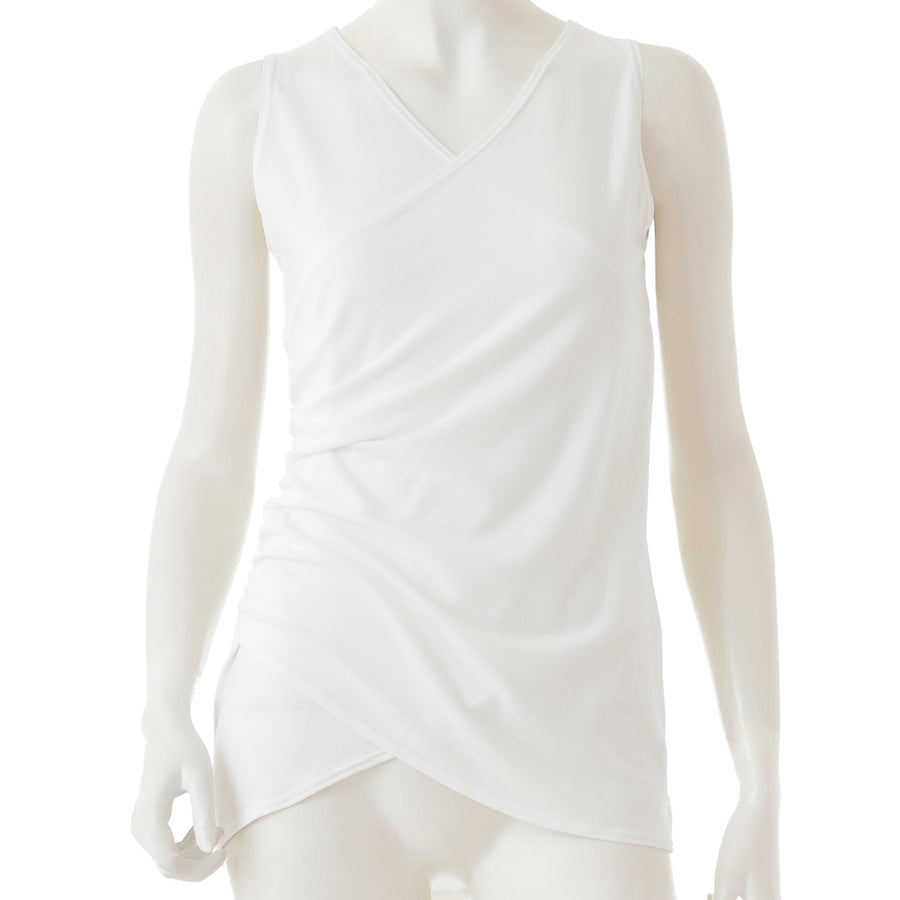Front Wrap Long Tank - Off White - bodyartwebstore