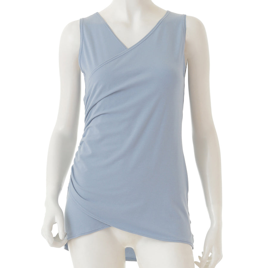 Front Wrap Long Tank - Pale Blue - bodyartwebstore