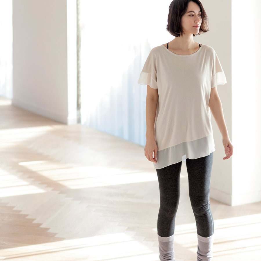 <NEW>Micro Modal Asymmetric T-shirt - Light Beige