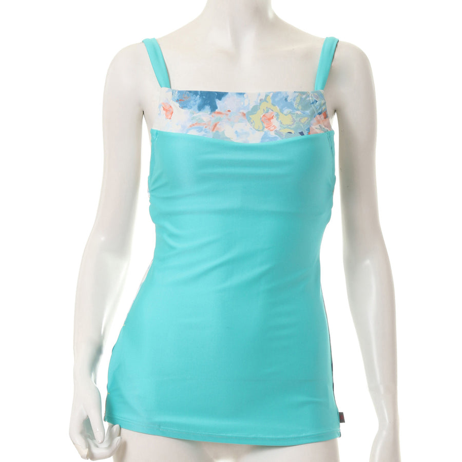 Blurred Flower Tank - Blue - bodyartwebstore